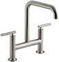 PURIST® TWO-HOLE DECK-MOUNT BRIDGE KITCHEN SINK FAUCET WITH 8-3/8-INCH SPOUT, Vibrant Stainless, small