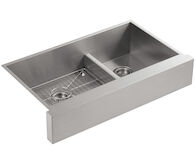 VAULT™ 35-1/2 X 21-1/4 X 9-5/16 INCHES UNDER-MOUNT SMART DIVIDE® LARGE/MEDIUM DOUBLE-BOWL KITCHEN SINK, STAINLESS STEEL WITH SHORT APRON FOR 36 CABINET, Stainless Steel, medium