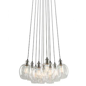 CLEARWATER 10-LIGHT CHANDELIER, Polished Nickel and Black, large