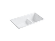 IRON/TONES® 33 X 18-3/4 X 9-5/8 INCHES TOP-/UNDER-MOUNT SMART DIVIDE® LARGE/MEDIUM KITCHEN SINK, White, medium