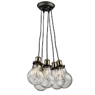 EDISON 5-LIGHT CLUSTER PENDANT, Matte Black and Vintage Brass, medium