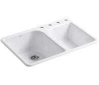 EXECUTIVE CHEF™ 33 X 22 X 10-5/8 INCHES TOP-MOUNT LARGE/MEDIUM, HIGH/LOW DOUBLE-BOWL KITCHEN SINK WITH 4 FAUCET HOLES, White, medium