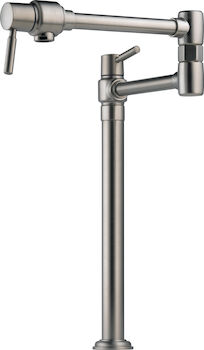 EURO DECK MOUNT POT FILLER FAUCET, Stainless Steel, large