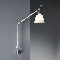 TOLOMEO WALL LAMP WITH SHADE AND S BRACKET, Aluminum/Parchment, medium