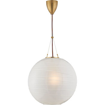 ALEXA HAMPTON HAILEY 1-LIGHT 18-INCH PENDANT LIGHT WITH FROSTED GLASS SHADE, Natural Brass, large