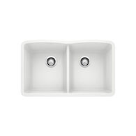 DIAMOND UNDERMOUNT DOUBLE BOWL KITCHEN SINK, White, medium