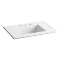 CERAMIC/IMPRESSIONS® 31-INCH RECTANGULAR VANITY-TOP BATHROOM SINK WITH 8-INCH WIDESPREAD FAUCET HOLES, White Impressions, medium