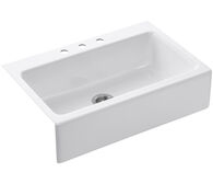 DICKINSON® 33 X 22-1/8 X 8-5/8 INCHES APRON-FRONT, TILE-IN SINGLE-BOWL KITCHEN SINK WITH 3 FAUCET HOLES, White, medium