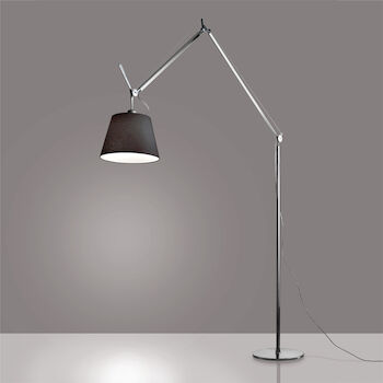 TOLOMEO MEGA LED FLOOR LAMP WITH 14-INCH DIFFUSER, Aluminum/Black, large