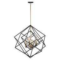 ARTISTRY 4-LIGHT CHANDELIER, Matte Black and Harvest Brass, medium
