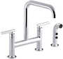 PURIST® TWO-HOLE DECK-MOUNT BRIDGE KITCHEN SINK FAUCET WITH 8-3/8-INCH SPOUT AND MATCHING FINISH SIDESPRAY, Polished Chrome, small