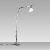 TOLOMEO FLOOR LAMP WITH SHADE, Aluminum/Parchment, medium