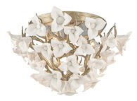 LILY 3-LIGHT FLUSH MOUNT, Enchanted Silver Leaf, medium