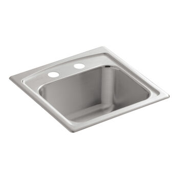 TOCCATA™ 15 X 15 X 7-11/16 INCHES TOP-MOUNT BAR SINK WITH 2 FAUCET HOLES, Stainless Steel, large