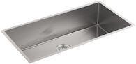 STRIVE® 35 X 18-5/16 X 9-5/16 INCHES UNDER-MOUNT EXTRA-LARGE SINGLE BOWL KITCHEN SINK WITH SINK RACK, Stainless Steel, medium