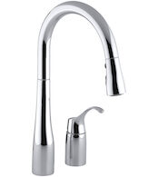SIMPLICE® TWO-HOLE KITCHEN SINK FAUCET WITH 16-1/8-INCH PULL-DOWN SWING SPOUT, DOCKNETIK® MAGNETIC DOCKING SYSTEM, AND A 3-FUNCTION SPRAYHEAD FEATURING SWEEP™ SPRAY, Polished Chrome, medium