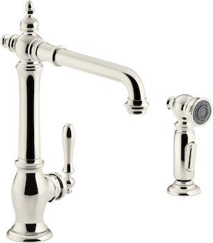 ARTIFACTS® 2-HOLE KITCHEN SINK FAUCET WITH 13-1/2-INCH SWING SPOUT AND MATCHING FINISH TWO-FUNCTION SIDESPRAY WITH SWEEP® AND BERRYSOFT® SPRAY, VICTORIAN SPOUT DESIGN, Vibrant Polished Nickel, large