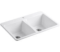 DEERFIELD® 33 X 22 X 9-5/8 INCHES DOUBLE-EQUAL KITCHEN SINK, White, medium