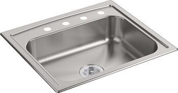 TOCCATA™ 25 X 22 X 6 INCHES TOP-MOUNT SINGLE-BOWL KITCHEN SINK, Stainless Steel, large