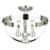 ROXBURY 3-LIGHT SEMI-FLUSH, Chrome, medium