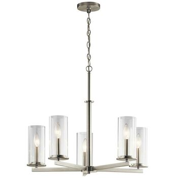 CROSBY 5-LIGHT CHANDELIER, Brushed Nickel, large