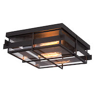 MULLER 2-LIGHT FLUSH MOUNT, Bronze, medium