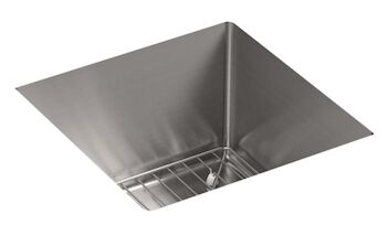 STRIVE® 15 X 15 X 9-5/16 INCHES UNDER-MOUNT BAR SINK WITH SINK RACK, Stainless Steel, large