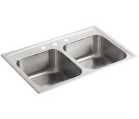 TOCCATA™ 33 X 22 X 8-3/16 INCHES TOP-MOUNT DOUBLE-EQUAL BOWL KITCHEN SINK, Stainless Steel, medium