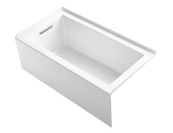 UNDERSCORE® 60 X 32 INCHES ALCOVE BATHTUB WITH INTEGRAL APRON AND INTEGRAL FLANGE AND LEFT-HAND DRAIN, White, large
