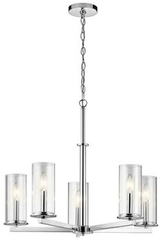 CROSBY 5-LIGHT CHANDELIER, Chrome, large