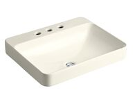 VOX® RECTANGLE VESSEL BATHROOM SINK WITH 8-INCH WIDESPREAD FAUCET HOLES, Biscuit, medium