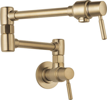 EURO WALL MOUNT POT FILLER FAUCET, Brilliance Luxe Gold, large
