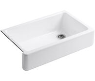 WHITEHAVEN® SELF-TRIMMING® 35-11/16 X 21-9/16 X 9-5/8 INCHES UNDER-MOUNT SINGLE-BOWL KITCHEN SINK WITH TALL APRON, White, medium