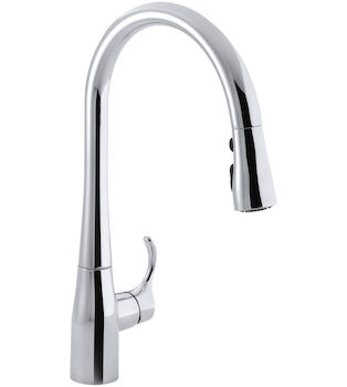 SIMPLICE(R) SINGLE-HOLE OR THREE-HOLE KITCHEN SINK FAUCET WITH 16-5/8-INCH PULL-DOWN SPOUT, DOCKNETIK(R) MAGNETIC DOCKING SYSTEM, AND A 3-FUNCTION SPRAYHEAD FEATURING SWEEP(R) SPRAY, Polished Chrome, large