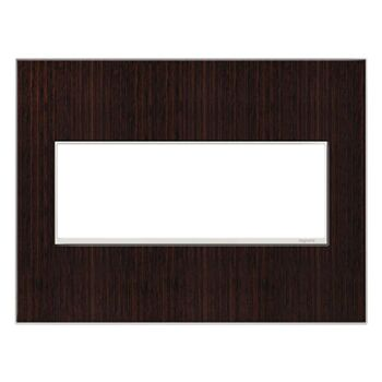 ADORNE 3-GANG REAL MATERIAL WALL PLATE, Wenge Wood, large