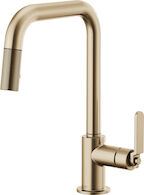 LITZE PULL DOWN FAUCET WITH SQUARE SPOUT AND INDUSTRIAL HANDLE, Brilliance Luxe Gold, medium