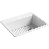 RIVERBY® 27 X 22 X 9-5/8 INCHES TOP-MOUNT SINGLE-BOWL KITCHEN SINK WITH BOTTOM SINK RACK, White, medium
