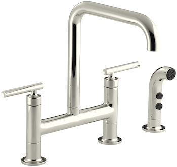 PURIST® TWO-HOLE DECK-MOUNT BRIDGE KITCHEN SINK FAUCET WITH 8-3/8-INCH SPOUT AND MATCHING FINISH SIDESPRAY, Vibrant Polished Nickel, large