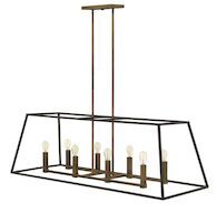 FULTON 8-LIGHT OPEN FRAME LINEAR CHANDELIER, Bronze, medium