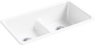 IRON/TONES® 33 X 18-3/4 X 9-5/8 INCHES TOP-/UNDER-MOUNT SMART DIVIDE® DOUBLE-EQUAL KITCHEN SINK, White, medium