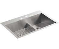 VAULT™ 33 X 22 X 9-5/16 INCHES SMART DIVIDE® TOP-/UNDER-MOUNT LARGE/MEDIUM DOUBLE-BOWL KITCHEN SINK, Stainless Steel, medium