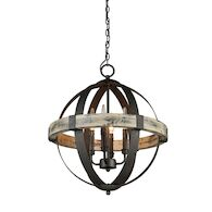 CASTELLO 4-LIGHT CHANDELIER, Distressed Wood and Black, medium