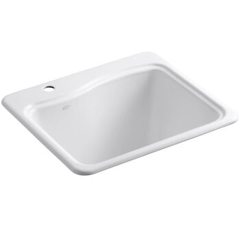 RIVER FALLS™ 25 X 22' X 14-15/16 INCHES TOP-MOUNT UTILITY SINK WITH SINGLE FAUCET HOLE ON DECK ON LEFT SIDE, White, large