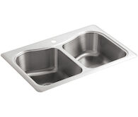 STACCATO™ 33 X 22 X 8-5/16 INCHES TOP-MOUNT DOUBLE-EQUAL BOWL KITCHEN SINK, Stainless Steel, medium