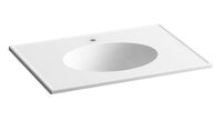 CERAMIC/IMPRESSIONS® 31-INCH OVAL VANITY-TOP BATHROOM SINK WITH SINGLE FAUCET HOLE, White Impressions, medium