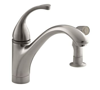 FORTÉ® 2-HOLE KITCHEN SINK FAUCET WITH 9-1/16-INCH SPOUT AND MATCHING FINISH SIDESPRAY, Vibrant Stainless, large