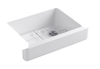 WHITEHAVEN® SELF-TRIMMING® 29-1/2 X 21-9/16 X 9-5/8 INCHES UNDER-MOUNT SINGLE-BOWL KITCHEN SINK WITH SHORT APRON, White, medium