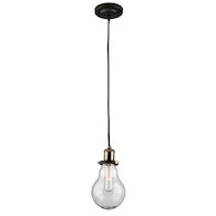 EDISON 1-LIGHT PENDANT, Matte Black and Vintage Brass, medium