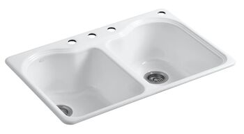 HARTLAND® 33 X 22 X 9-5/8 INCHES TOP-MOUNT DOUBLE-EQUAL KITCHEN SINK WITH 4 FAUCET HOLES, White, large