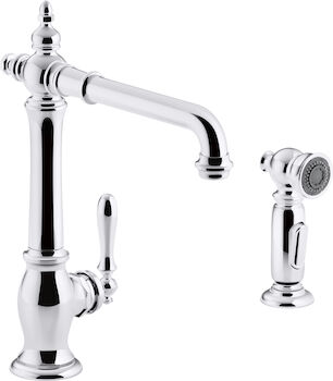 ARTIFACTS® 2-HOLE KITCHEN SINK FAUCET WITH 13-1/2-INCH SWING SPOUT AND MATCHING FINISH TWO-FUNCTION SIDESPRAY WITH SWEEP® AND BERRYSOFT® SPRAY, VICTORIAN SPOUT DESIGN, Polished Chrome, large